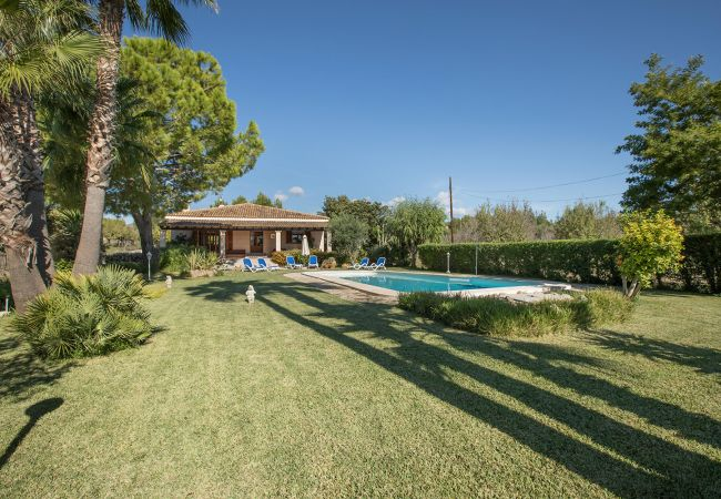 Garten mit Pool der Finca Rubiols bei Buger